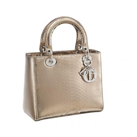 獨賣限定Lady Dior 金屬色蟒蛇紋提包中型款