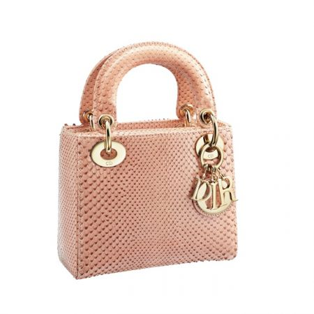 獨賣限定Mini Lady Dior 粉色莽蛇皮迷你款提包