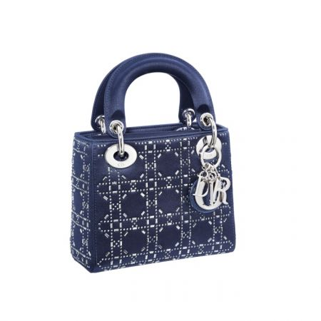 獨賣限定Mini Lady Dior 深藍色籐格紋鑲水晶迷你款提包