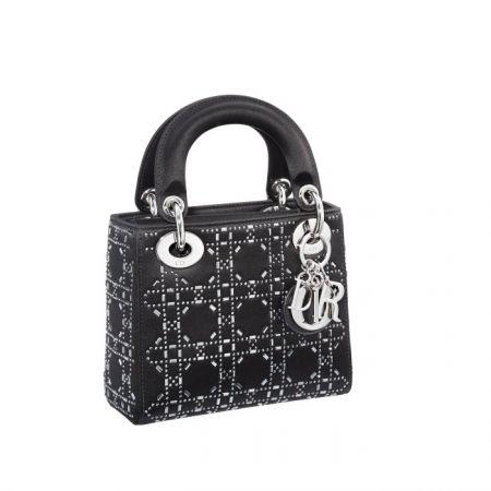 獨賣限定Mini Lady Dior 黑色籐格紋鑲水晶迷你款提包