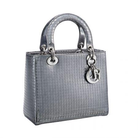 獨賣限定Lady Dior 金屬感鐵灰色小牛皮提包中型款