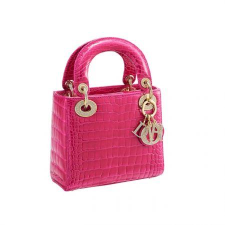 獨賣限定Mini Lady Dior 桃紅色鱷魚皮鑲鑽迷你款提包