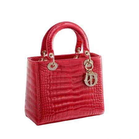 獨賣限定Lady Dior 紅色鱷魚皮鑲鑽中型款