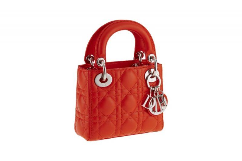 獨賣限定Nano Lady Dior 橘色小牛皮迷你款提包
