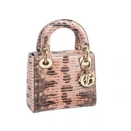 獨賣限定Mini Lady Dior 淺粉色蜥蜴皮迷你款提包
