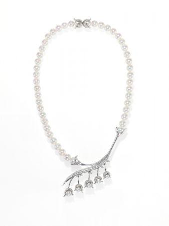 chorus valley 項鍊_18K 白金、鑽石、巴洛克阿古屋珍珠。