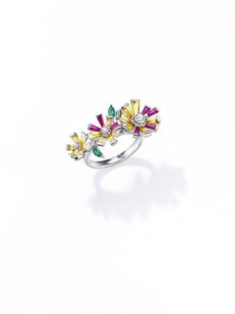 opulence 戒指_鉑金、鑽石、黃色藍寶石、紅寶石、翠榴石。