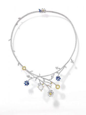 opulence 項鍊_18K白金、鑽石、黃鑽、藍寶石。