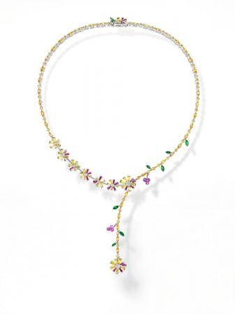 opulence 項鍊_鉑金、鑽石、黃色藍寶石、粉色藍寶石、翠榴石。