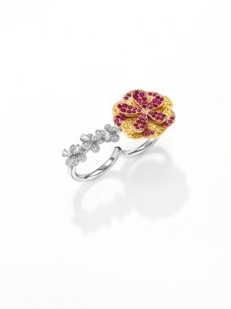 dahlia 戒指_鉑金、18K黃金、18K櫻花金、紅寶石、黃色藍寶石、鑽石。