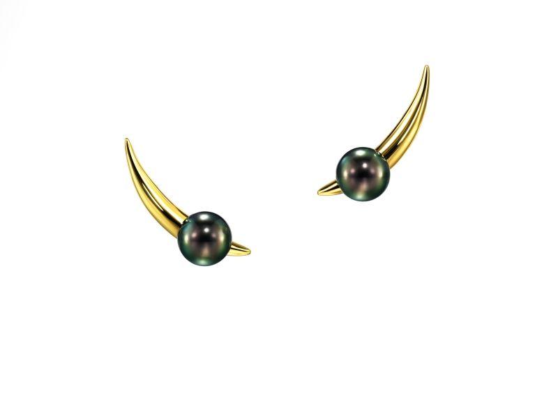 nepenthes 耳環_18K黃金、南洋黑珍珠。