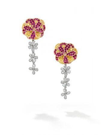 dahlia 耳環_鉑金、18K黃金、18K櫻花金、紅寶石、黃色藍寶石、鑽石。