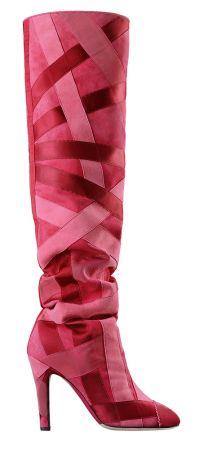 粉紅色羅緞裝飾麂皮長靴,Chanel,NT67,900