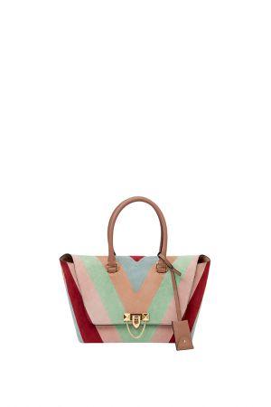 彩色拼接手提包,Valentino。
