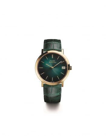 Piaget Altiplano 六十周年系列腕錶40 毫米,18K金錶殼,藍寶石水晶底蓋銹綠色錶盤,金質時標搭載伯爵製1203P超薄自動上鏈機芯,厚3毫米機芯寶石數:25振頻:每小時21600次動力儲存:約44小時細節修飾:環形日內瓦波狀飾紋, 磨光圓紋主夾板, 倒角錶橋, 藍鋼螺絲,金質擺陀刻有代表伯爵的「P」字母標誌功能: 時、分,日子顯示設於3時位置銹綠色鱷魚皮錶帶,搭配18K玫瑰金針扣式錶釦限量260枚,2017年4月於伯爵專賣店發售G0A42052 台幣參考價格800,000元