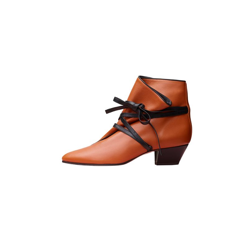 棕橘色小牛皮綁帶踝靴,CÉLINE