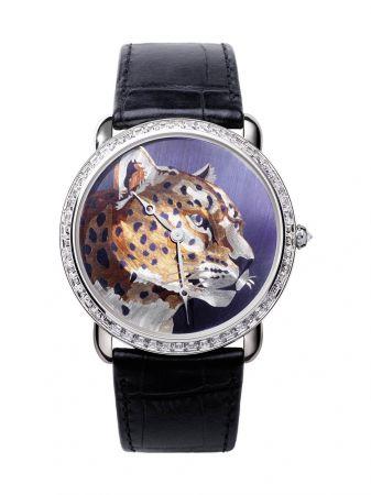 Ronde Louis Cartier美洲豹火金工藝腕錶