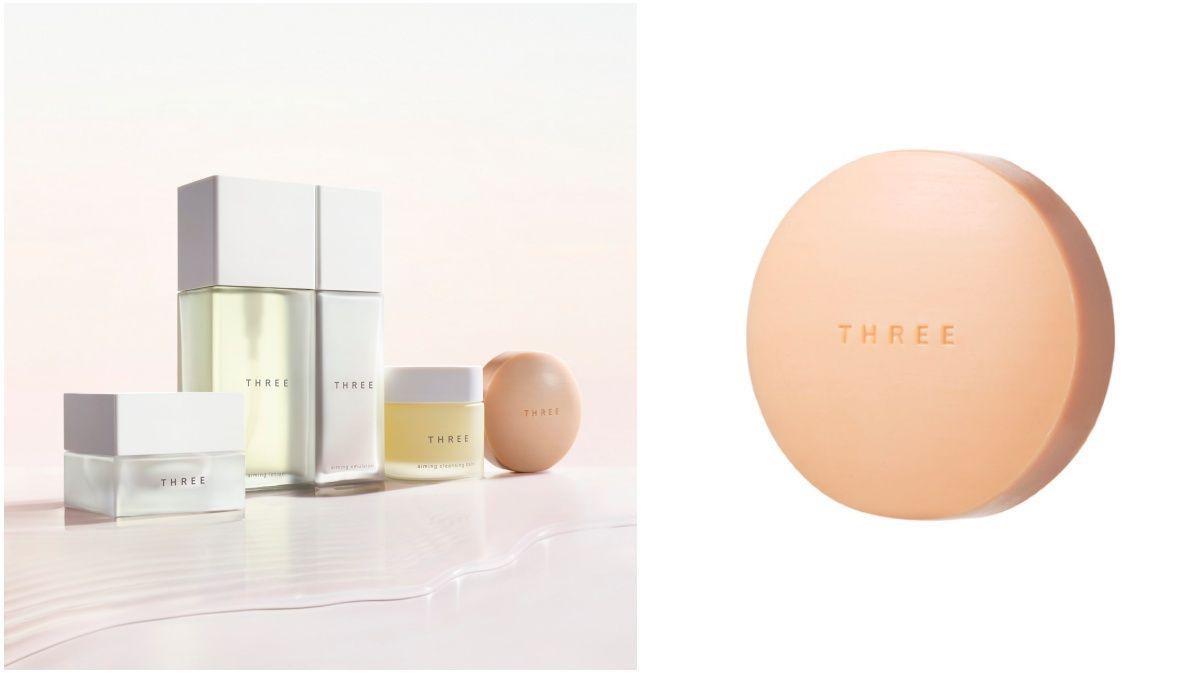 居然是淡玫瑰花粉色的洗顏皂!THREE超療癒的全方位保養極致活顏系列誕生