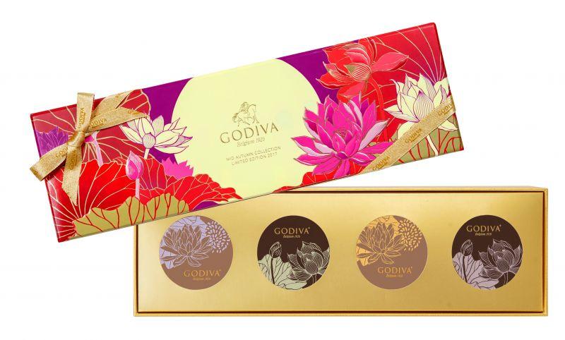 GODIVA中秋節巧克力蛋糕月餅禮盒4顆裝NT$1150