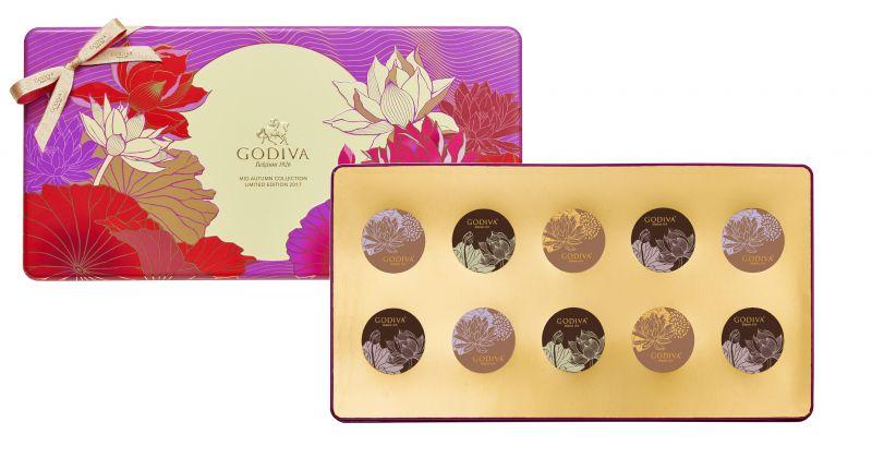 GODIVA中秋節巧克力蛋糕月餅鐵盒10顆裝NT$2430