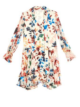 印花荷葉洋裝,Alice+Olivia,NT19,900。