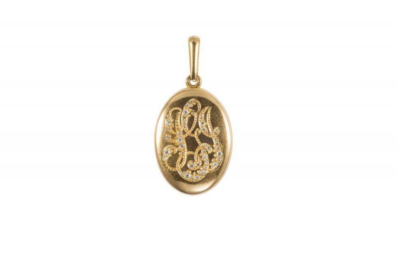 "Tiffany 飾盒 ( 1893)黃金與鑽石4.8 x 2.4 x 0.5 cm這款黃金飾盒有鑲鑽字母IGJ的圖案。飾盒 (Locket) 源自法文 ""Loquat"" 或 ""Latch"" 一詞,採用鉸鏈式開合,內層可存放一縷秀髮或一張心愛之人的照片。飾盒吊墜適合白天佩戴,可懸掛與頸間的項鍊或緞帶之上,也可作為胸針點綴衣裙,或嵌入手鍊與戒指之上。1845年,Tiffany開始在Blue Book中推出飾盒,到了1880年,Tiffany已在Blue Book中推出了上百款不同款式的飾盒。"