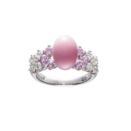 MIKIMOTO 頂級珠寶孔克真珠粉紅剛玉鑽石戒指,2,180,000元