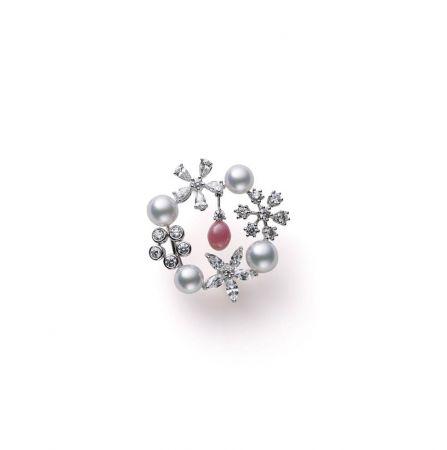 MIKIMOTO 高級珠寶孔克真珠鑽石胸針,880,000元