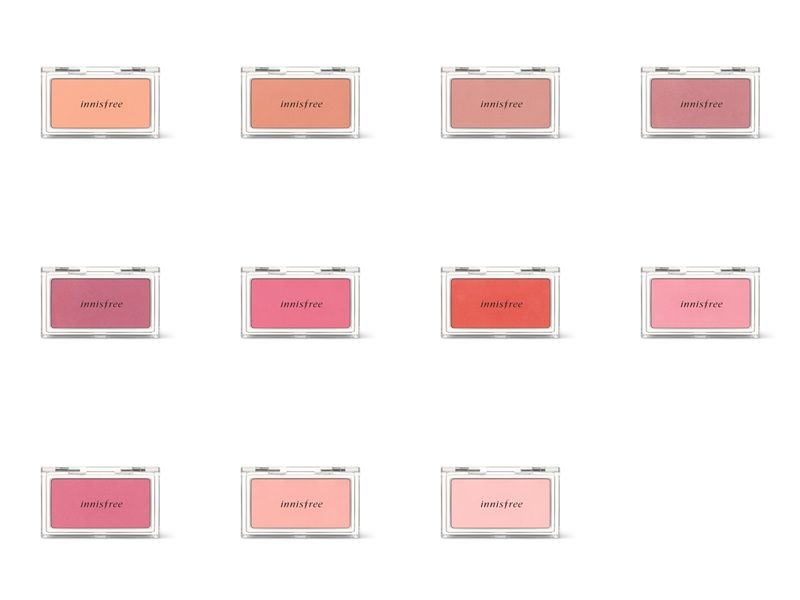innisfree我的腮紅餅,4g,NT250(色號:#1盛開的杏桃花、#2晶瑩的菊花、#5陽光下的薔薇、#6典雅的乾燥玫瑰、#7牆底下的玫瑰花、#8春天的粉紅鬱金香、#9雙頰紅潤的山茶花、#12充滿香氣的薰衣草、#13綻放的牡丹花、#15閃閃發亮的小玫瑰、#17朦朧的玉蘭花)