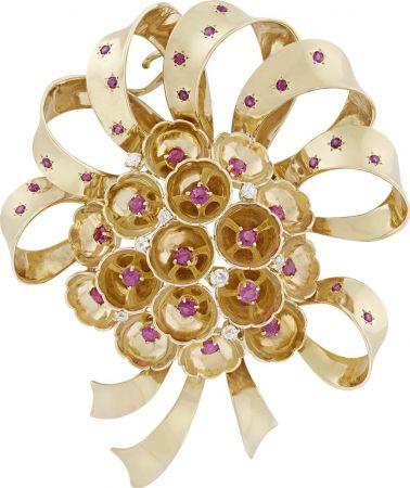 1940年代_Bowknot胸針_1941年_黃K金,紅寶石,鑽石