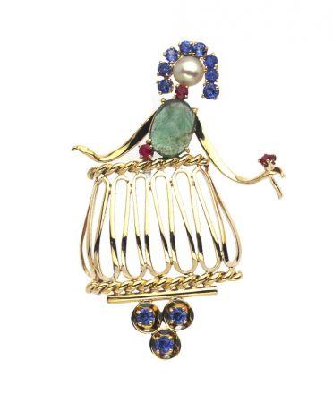 1950年代_Juliet別針_約1951年_黃K金,祖母綠,藍寶石,紅寶石,珍珠