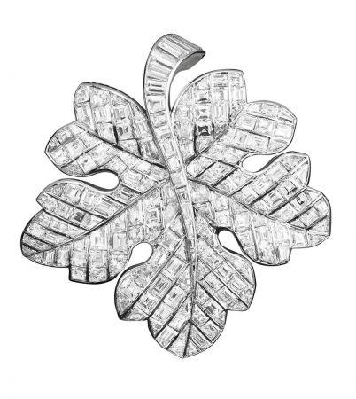 1950年代_Vine leaf胸針_1951年_鉑金,鑽石