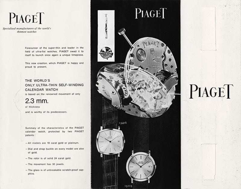 Piaget 於1960年廣告主打世界最薄之12P自動上鍊機芯