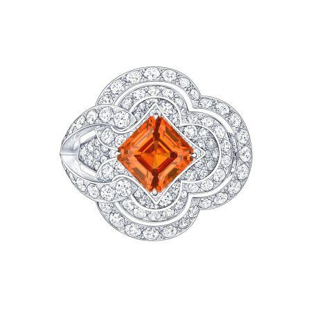 戒指白金3.65克拉錳鋁榴石3.65克拉鑽石