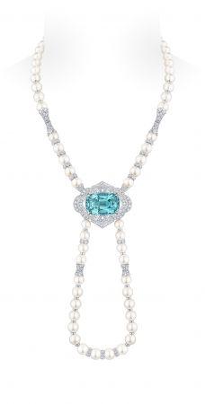 項鍊白金54.30克拉碧璽珍珠23.14克拉鑽石