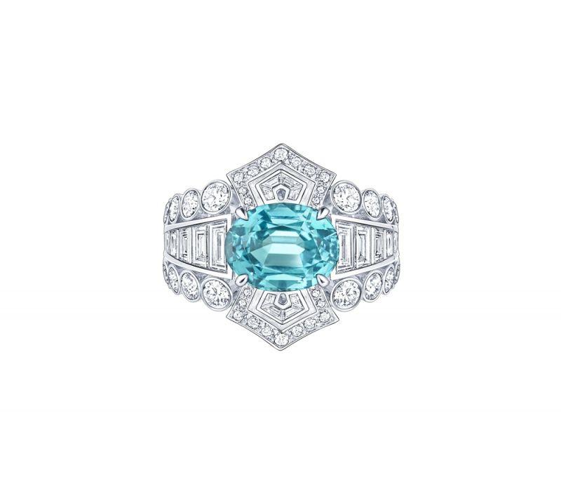 戒指白金4.44克拉碧璽1.73克拉鑽石