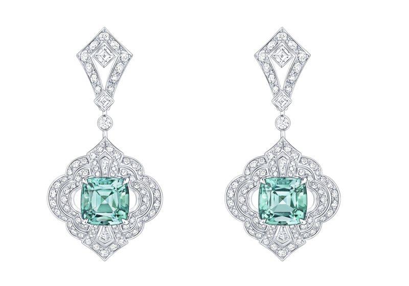 耳環白金兩顆碧璽共7.78克拉3.28克拉鑽石