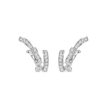 Ruban 耳環18K白金,鑲嵌48顆總重0.73克拉明亮式切割鑽石。建議售價NT$255,000元
