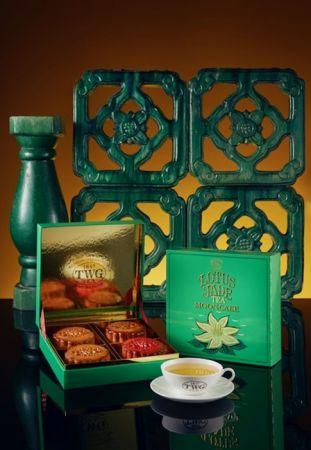 TWG Tea 蓮花玉茶茗茶月餅禮盒 - 茶香月餅4入盒裝(含刀叉),NT1,420