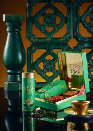 TWG Tea 蓮花玉茶茗茶月餅禮盒 - 茶香月餅2入搭配頂級訂製系列茗茶, NT1,650