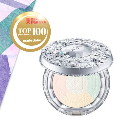 JILL STUART雪紡晶透蜜粉餅 NT$1,600光的三原色(紅色、綠色、藍色) 相加而形成的白色粉體及吉麗絲朵自行開發的特殊「粉紅光矯色粉體」,交織形成RGBP三原色光感粉體,創造自然明亮粧感。