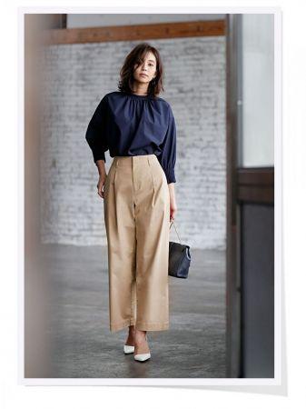 UNIQLO女裝超柔棉抓皺上衣 (7分袖) 、UNIQLO 女裝高腰卡其寬褲 ※其他配件為私物
