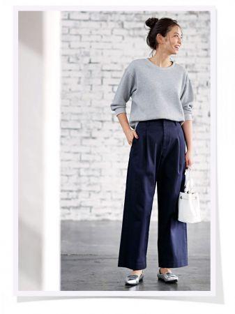 UNIQLO女裝華夫格圓領T恤 (7分袖) 、UNIQLO女裝高腰卡其寬褲 ※其他配件為私物