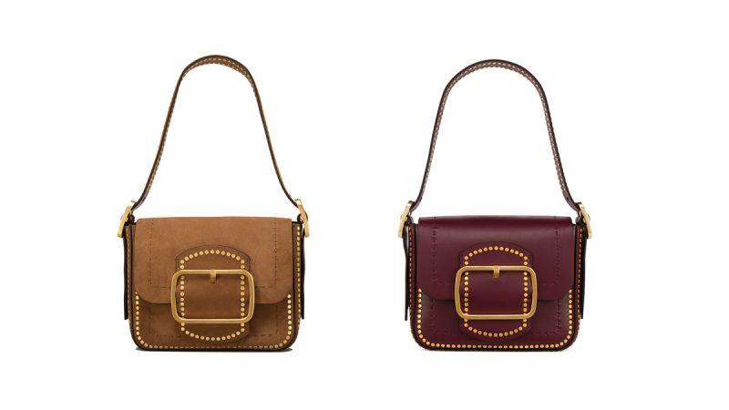 SAWYER麂皮鉚釘肩背包($27,900)及SAWYER酒紅鉚釘肩背包($27,900)