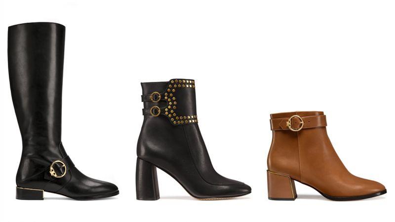 金扣騎士長靴($22,900);鉚釘厚根短靴($22,900);金扣踝靴($18,900)
