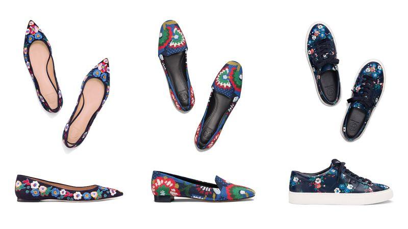 彩色花朵刺繡尖頭平底鞋($13,900);彩色花朵絨繡樂福鞋($15,900);彩色印花運動鞋($10,900)