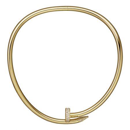 Juste un Clou黃K金鑲鑽短項鍊,大型款黃K金,頂部和尾端鋪鑲鑽石參考價格約NT$ 2,870,000