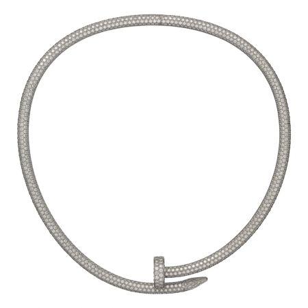 Juste un Clou全鋪鑲鑽短項鍊,大型款白K金,鋪鑲鑽石,參考價格: 店洽