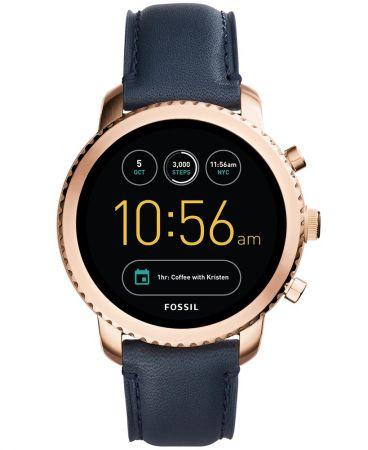 Q Explorist觸控式螢幕智慧型腕錶 海軍藍皮革錶帶 NT10,500(FTW4002)