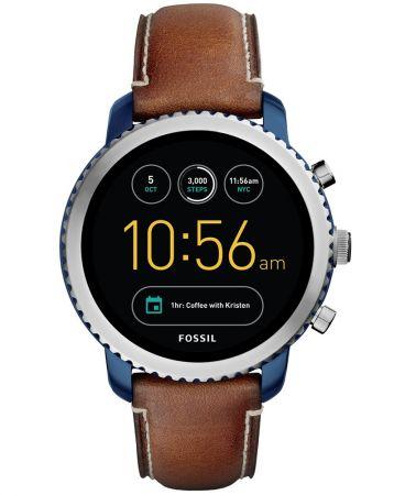 Q Explorist觸控式螢幕智慧型腕錶 棕色皮革錶帶 NT10,500(FTW4004)